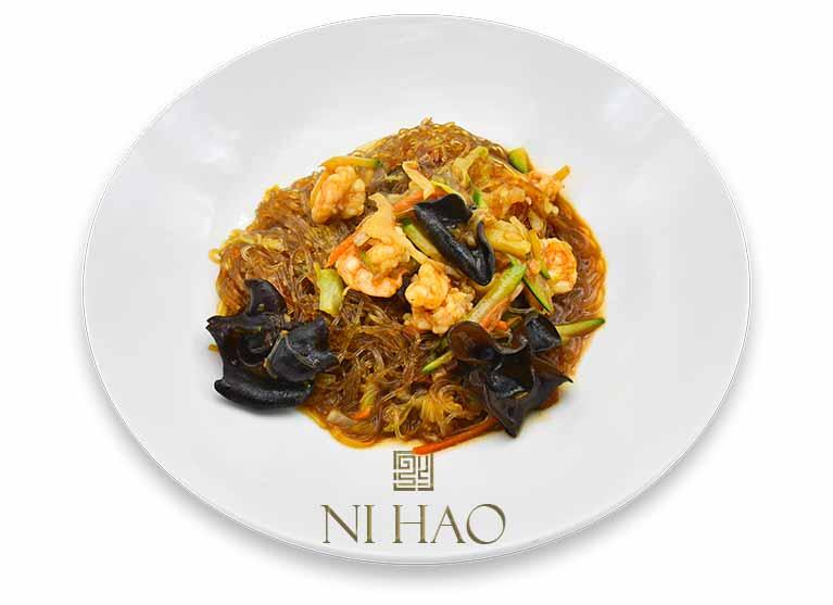 10.Spaghetti di soia Ni Hao con gamberi