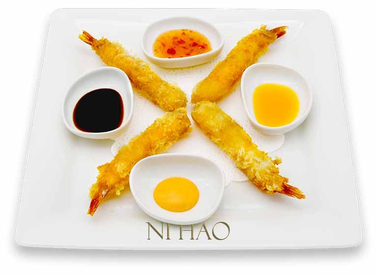5.Gamberoni in tempura alle 4 Salse